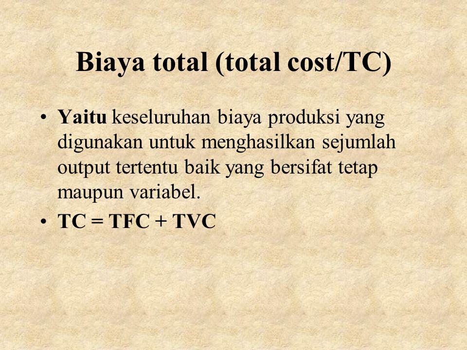 Biaya total (total cost/TC) Yaitu keseluruhan biaya produksi yang digunakan untuk menghasilkan sejumlah output tertentu baik yang bersifat tetap maupu