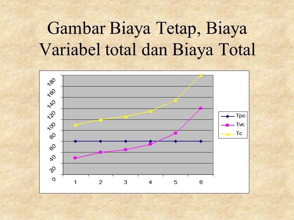 Gambar Biaya Tetap, Biaya Variabel total dan Biaya Total
