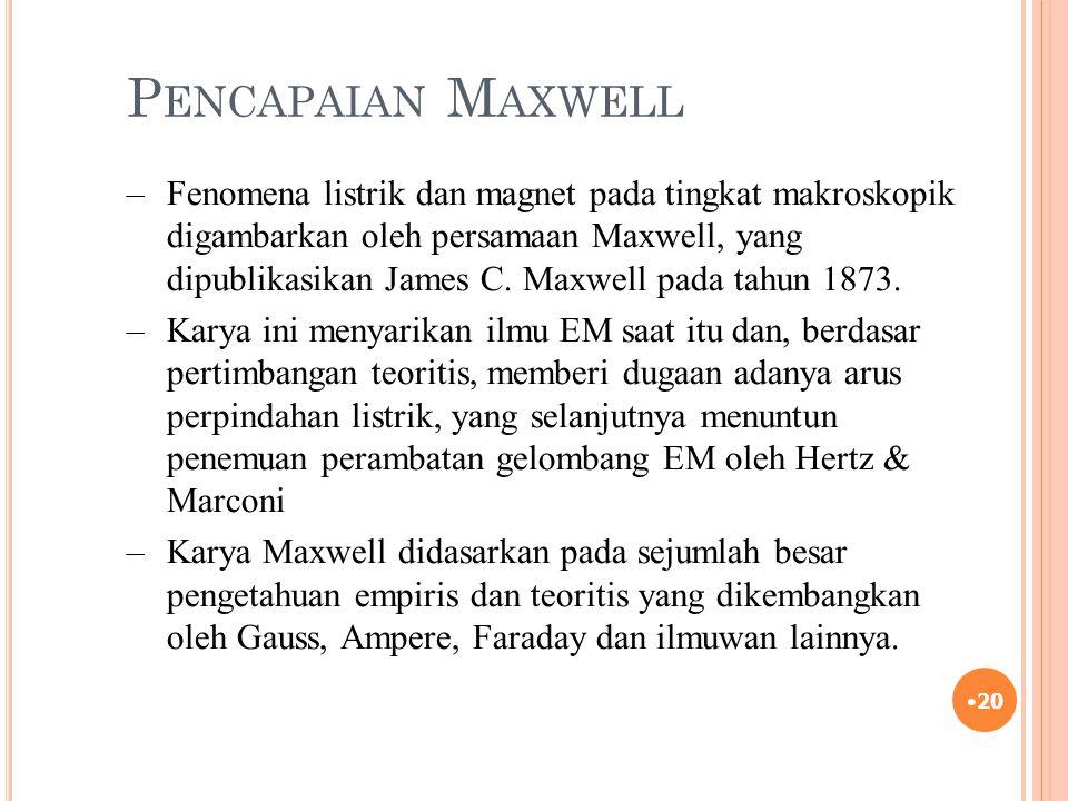 P ENCAPAIAN M AXWELL 20 –Fenomena listrik dan magnet pada tingkat makroskopik digambarkan oleh persamaan Maxwell, yang dipublikasikan James C. Maxwell