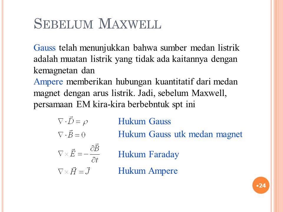 S EBELUM M AXWELL 24 Gauss telah menunjukkan bahwa sumber medan listrik adalah muatan listrik yang tidak ada kaitannya dengan kemagnetan dan Ampere me