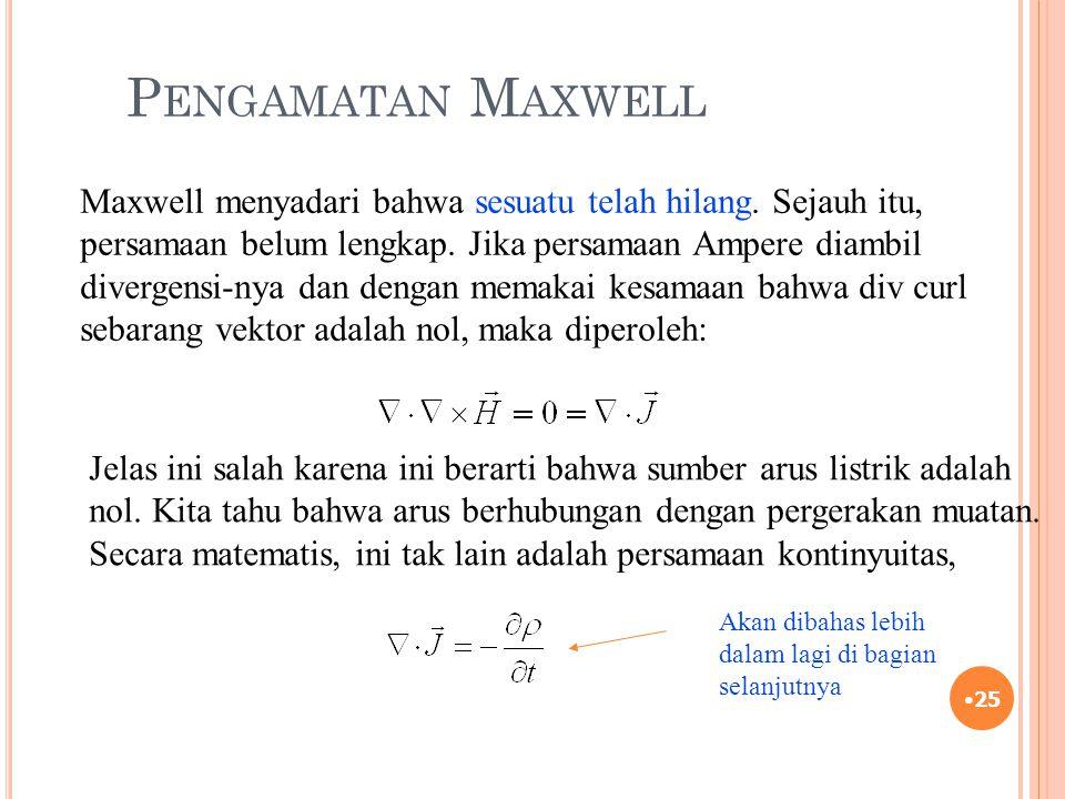 P ENGAMATAN M AXWELL 25 Maxwell menyadari bahwa sesuatu telah hilang. Sejauh itu, persamaan belum lengkap. Jika persamaan Ampere diambil divergensi-ny