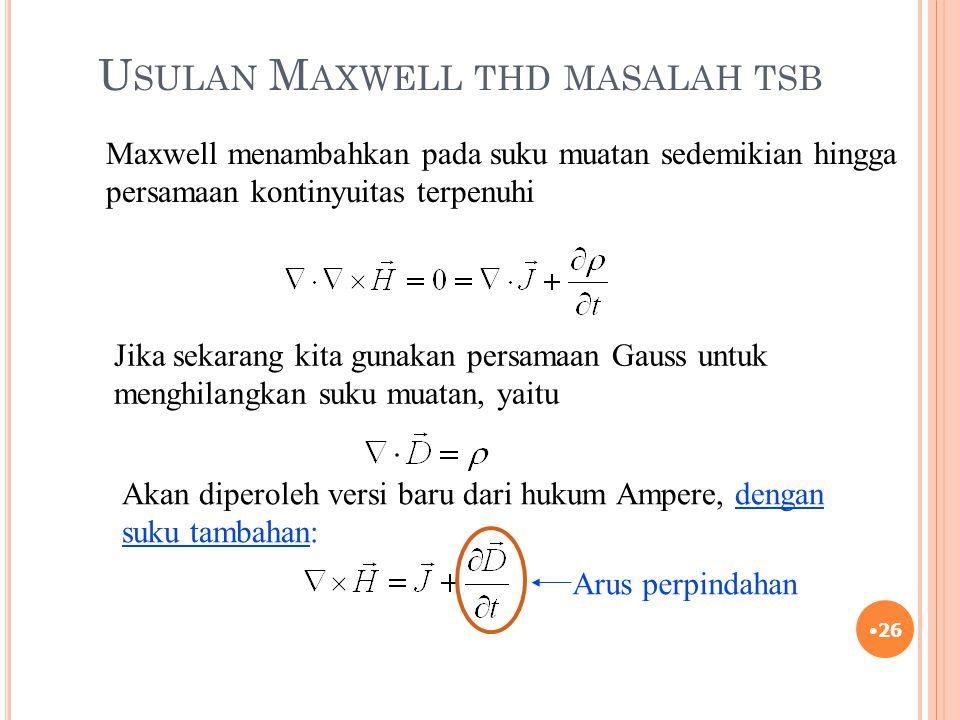 U SULAN M AXWELL THD MASALAH TSB 26 Maxwell menambahkan pada suku muatan sedemikian hingga persamaan kontinyuitas terpenuhi Jika sekarang kita gunakan