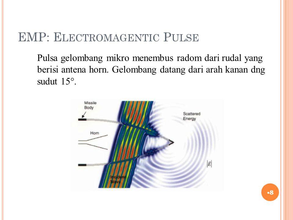 EMP: E LECTROMAGENTIC P ULSE 8 Pulsa gelombang mikro menembus radom dari rudal yang berisi antena horn. Gelombang datang dari arah kanan dng sudut 15°