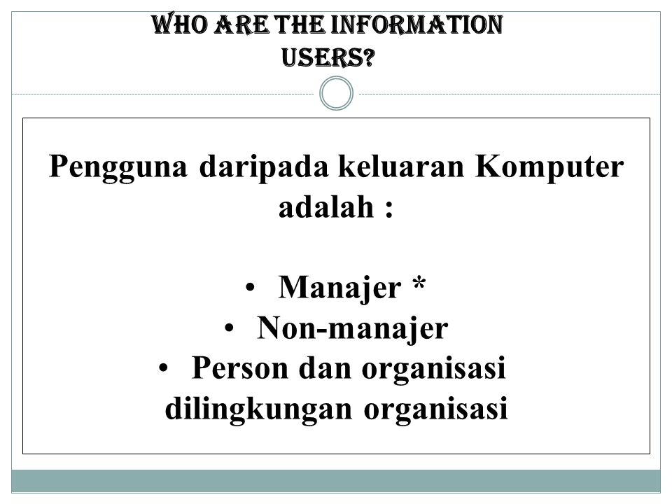 Who are the Information users.