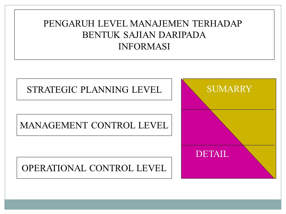 PENGARUH LEVEL MANAJEMEN TERHADAP BENTUK SAJIAN DARIPADA INFORMASI STRATEGIC PLANNING LEVEL MANAGEMENT CONTROL LEVEL OPERATIONAL CONTROL LEVEL SUMARRY DETAIL