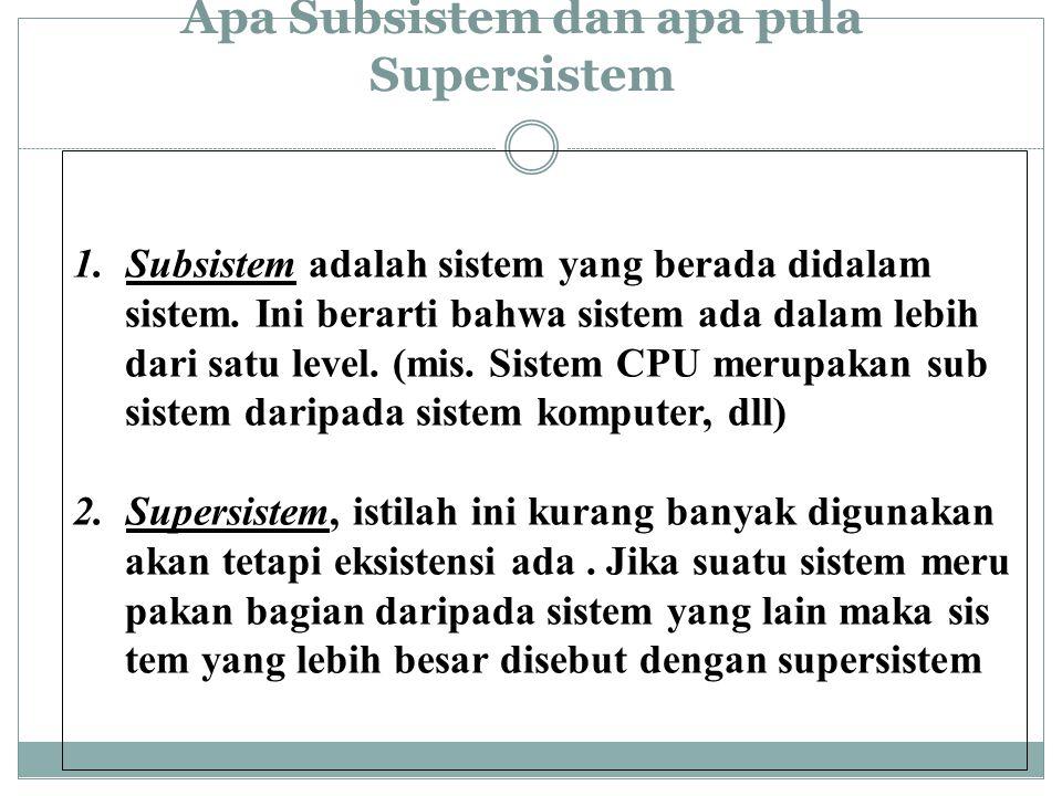 Apa Subsistem dan apa pula Supersistem 1.Subsistem adalah sistem yang berada didalam sistem.