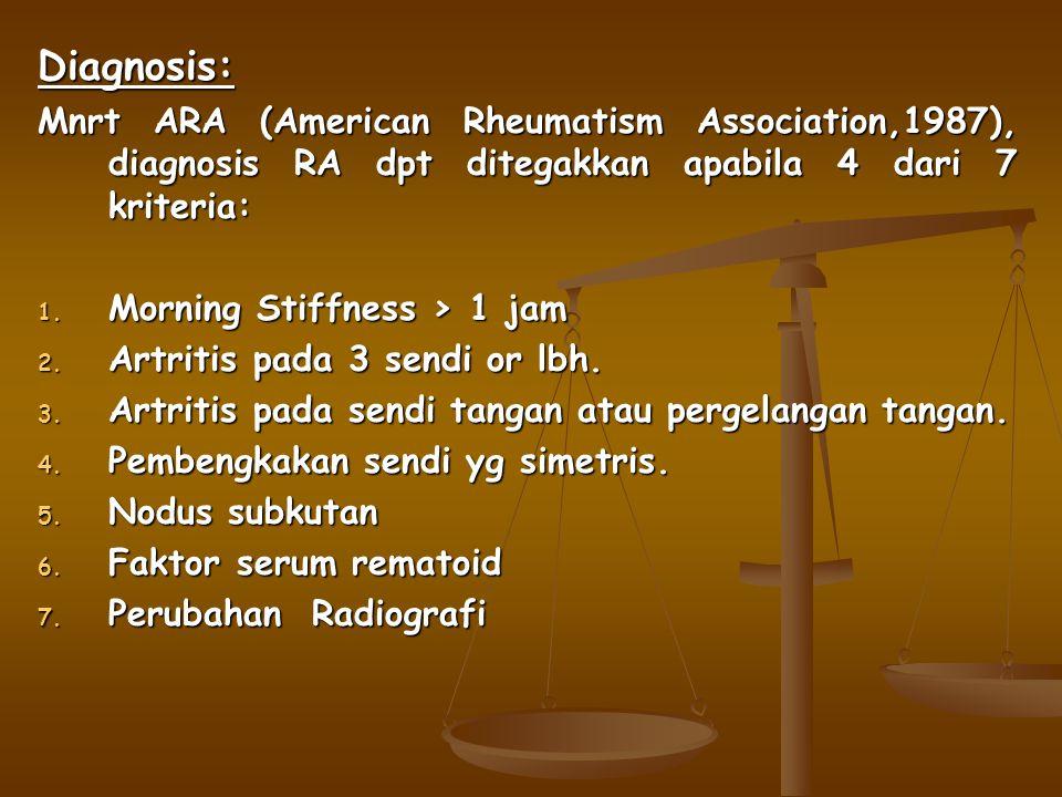 Diagnosis: Mnrt ARA (American Rheumatism Association,1987), diagnosis RA dpt ditegakkan apabila 4 dari 7 kriteria: 1. Morning Stiffness > 1 jam 2. Art