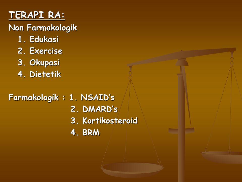 TERAPI RA: Non Farmakologik 1.Edukasi 2. Exercise 3.