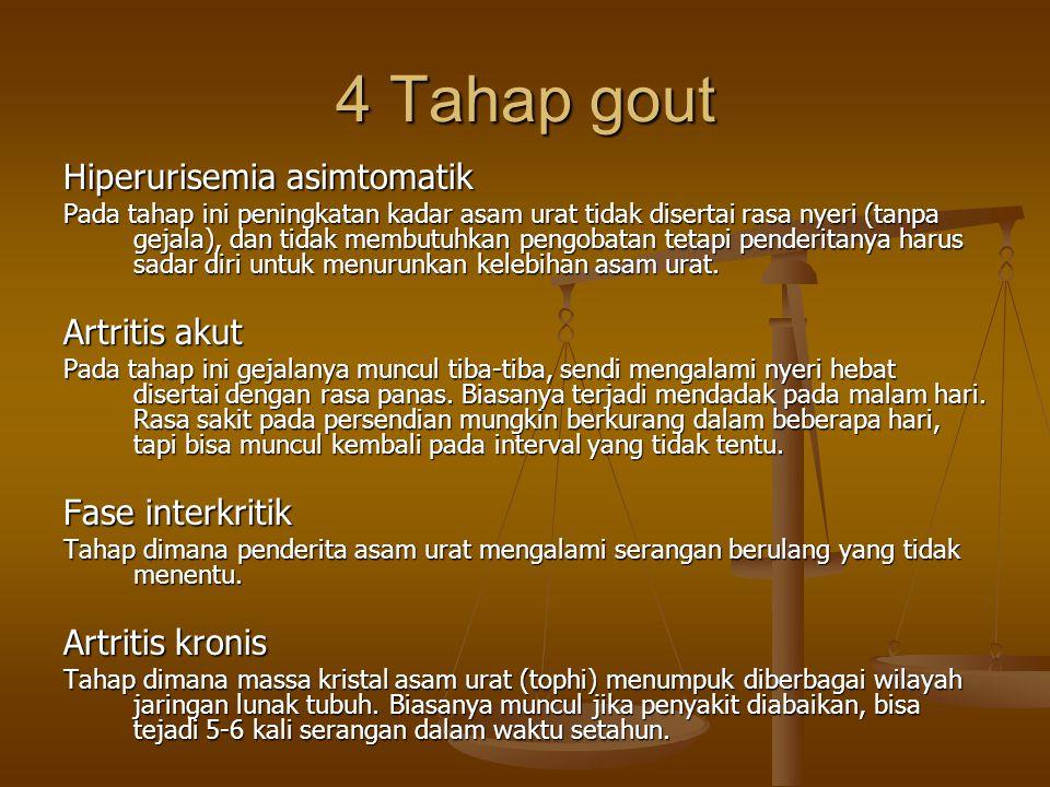4 Tahap gout Hiperurisemia asimtomatik Pada tahap ini peningkatan kadar asam urat tidak disertai rasa nyeri (tanpa gejala), dan tidak membutuhkan peng