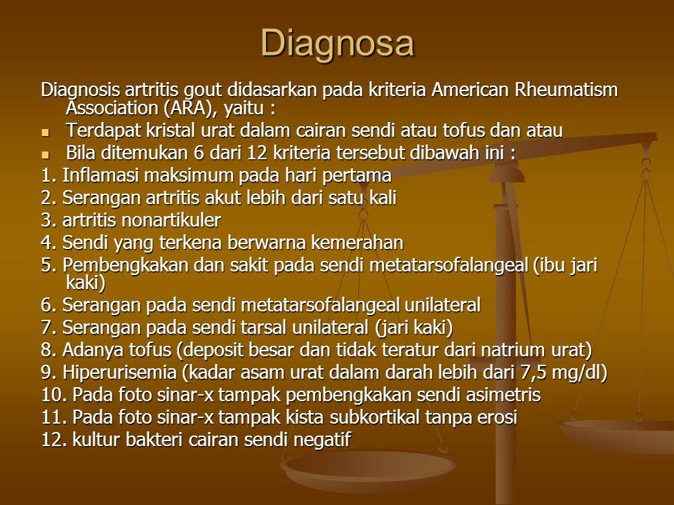 Diagnosa Diagnosis artritis gout didasarkan pada kriteria American Rheumatism Association (ARA), yaitu : Terdapat kristal urat dalam cairan sendi atau tofus dan atau Terdapat kristal urat dalam cairan sendi atau tofus dan atau Bila ditemukan 6 dari 12 kriteria tersebut dibawah ini : Bila ditemukan 6 dari 12 kriteria tersebut dibawah ini : 1.