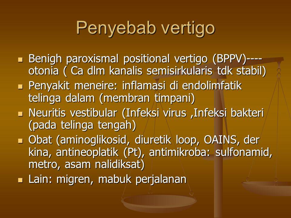 Penyebab vertigo Benigh paroxismal positional vertigo (BPPV)---- otonia ( Ca dlm kanalis semisirkularis tdk stabil) Benigh paroxismal positional vertigo (BPPV)---- otonia ( Ca dlm kanalis semisirkularis tdk stabil) Penyakit meneire: inflamasi di endolimfatik telinga dalam (membran timpani) Penyakit meneire: inflamasi di endolimfatik telinga dalam (membran timpani) Neuritis vestibular (Infeksi virus,Infeksi bakteri (pada telinga tengah) Neuritis vestibular (Infeksi virus,Infeksi bakteri (pada telinga tengah) Obat (aminoglikosid, diuretik loop, OAINS, der kina, antineoplatik (Pt), antimikroba: sulfonamid, metro, asam nalidiksat) Obat (aminoglikosid, diuretik loop, OAINS, der kina, antineoplatik (Pt), antimikroba: sulfonamid, metro, asam nalidiksat) Lain: migren, mabuk perjalanan Lain: migren, mabuk perjalanan