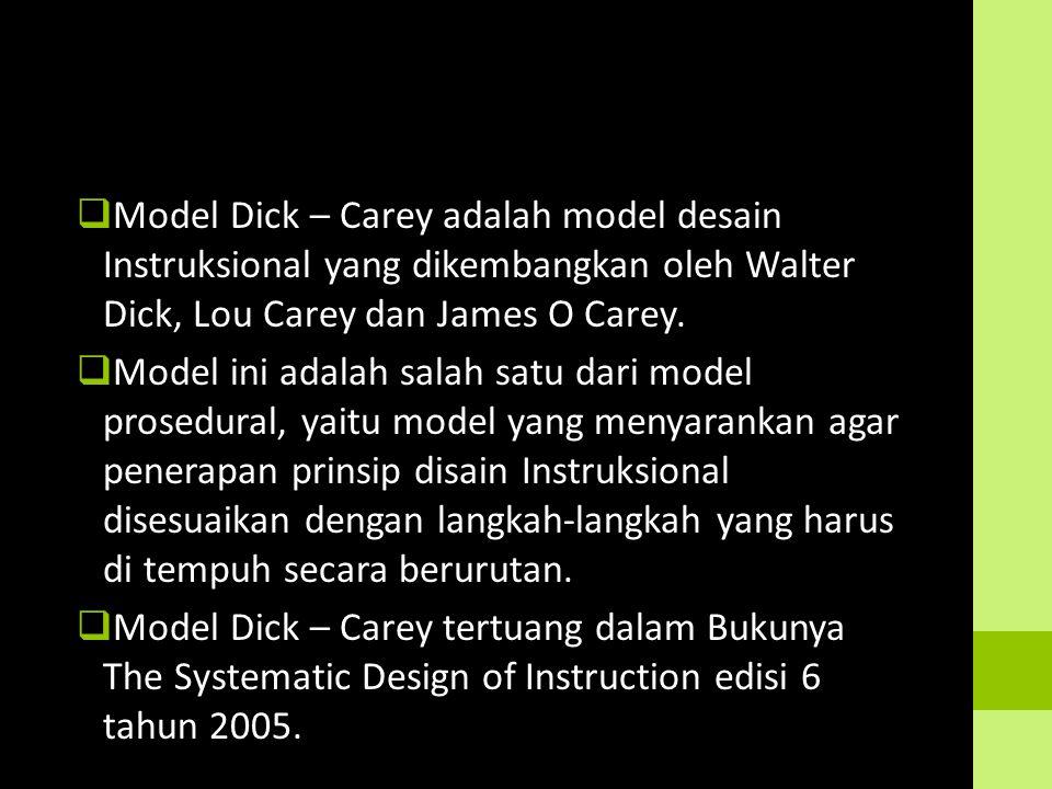  Model Dick – Carey adalah model desain Instruksional yang dikembangkan oleh Walter Dick, Lou Carey dan James O Carey.  Model ini adalah salah satu