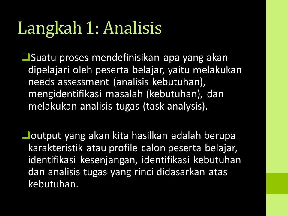 Langkah 1: Analisis  Suatu proses mendefinisikan apa yang akan dipelajari oleh peserta belajar, yaitu melakukan needs assessment (analisis kebutuhan)