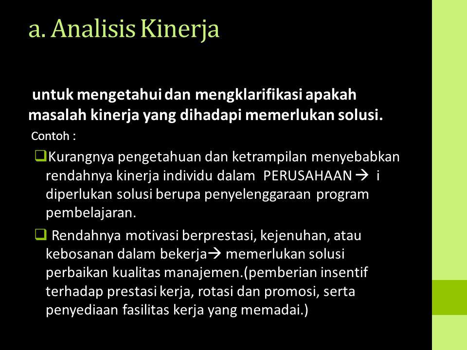 a. Analisis Kinerja untuk mengetahui dan mengklarifikasi apakah masalah kinerja yang dihadapi memerlukan solusi. Contoh :  Kurangnya pengetahuan dan