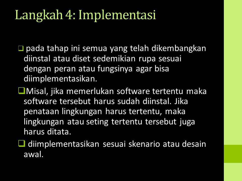 Langkah 4: Implementasi  pada tahap ini semua yang telah dikembangkan diinstal atau diset sedemikian rupa sesuai dengan peran atau fungsinya agar bis