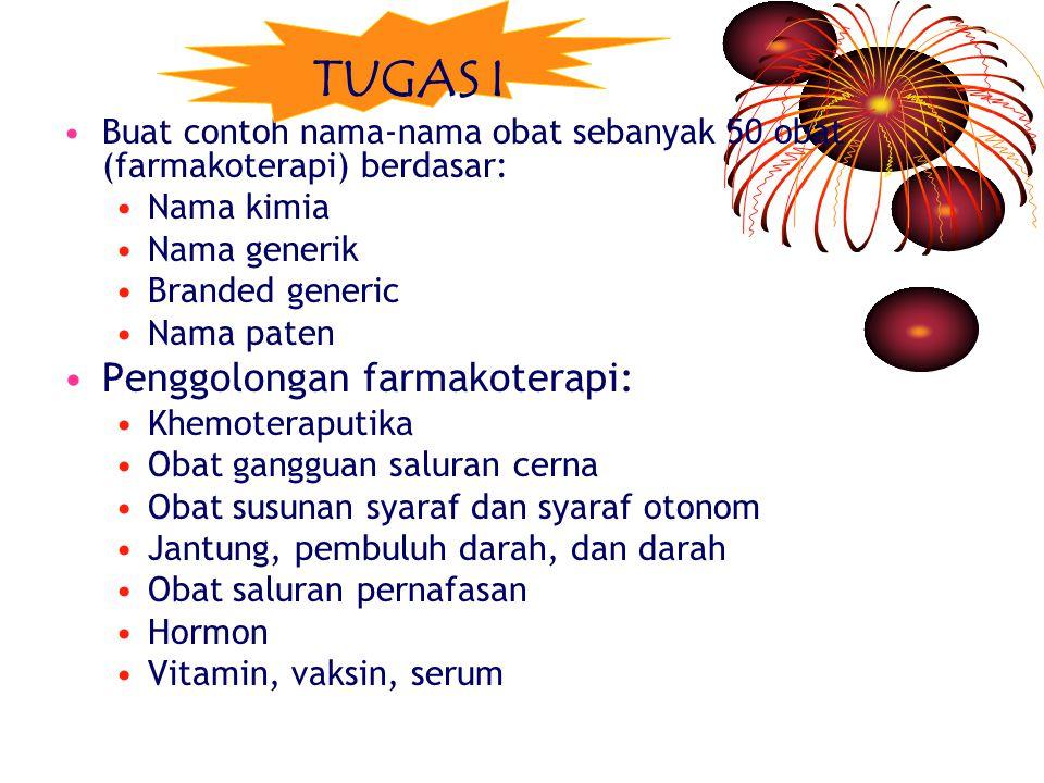 Buat contoh nama-nama obat sebanyak 50 obat (farmakoterapi) berdasar: Nama kimia Nama generik Branded generic Nama paten Penggolongan farmakoterapi: Khemoteraputika Obat gangguan saluran cerna Obat susunan syaraf dan syaraf otonom Jantung, pembuluh darah, dan darah Obat saluran pernafasan Hormon Vitamin, vaksin, serum TUGAS I