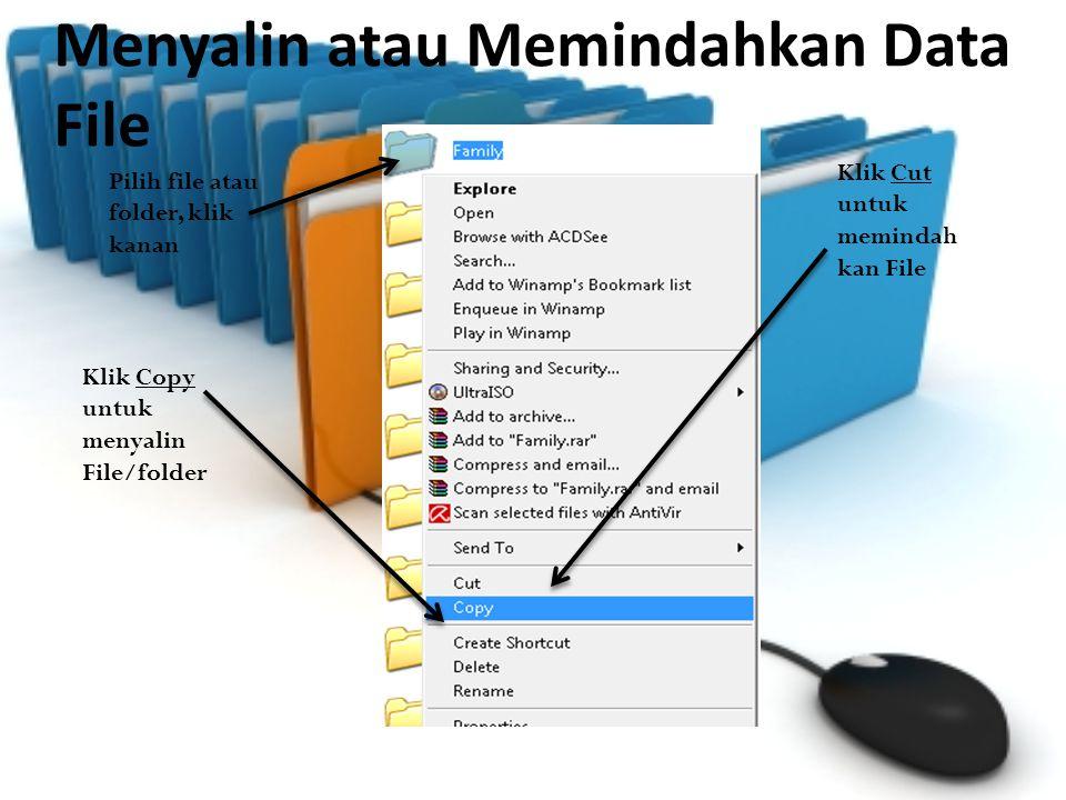 Pilih tempat untuk menempatkan hasil, klik kanan Pilih Paste, tunggu sampai proses selesai maka file telah tersalin