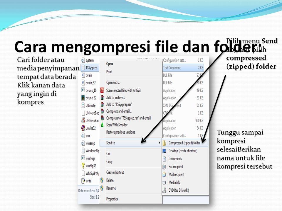 Mem-Backup File Atau Folder ke dalam CD/DVD Cari folder atau media penyimpana n tempat data berada Lakukan prosedur penyalinan file dari tempat asal CD/DVD berada Lalu, pilih burn to disc ikuti langkah-langkah yang tertera pada layar, janganlupa siapkan media optiknya (CD-R atau DVD-R)