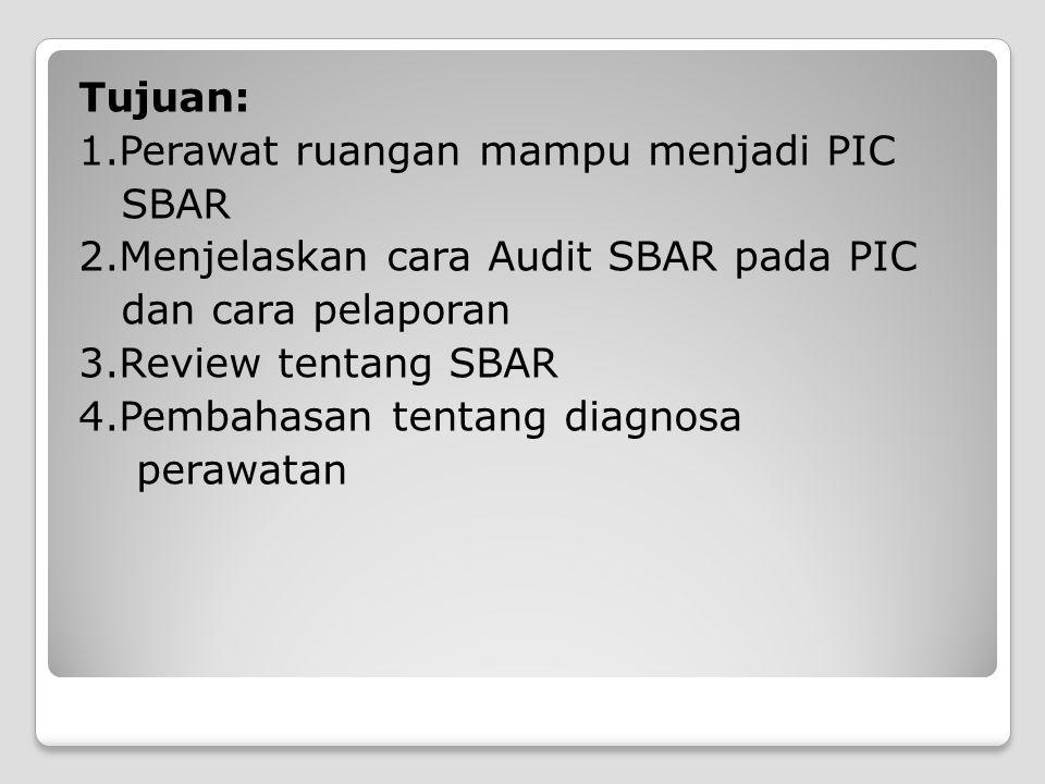  PIC (personal incharge) SBAR Seseorang yang ditunjuk untuk evaluasi, monitoring dan tempat bertanya bagi teman sejawat tentang hal-hal yang ditugaskan kepadanya (SBAR ).