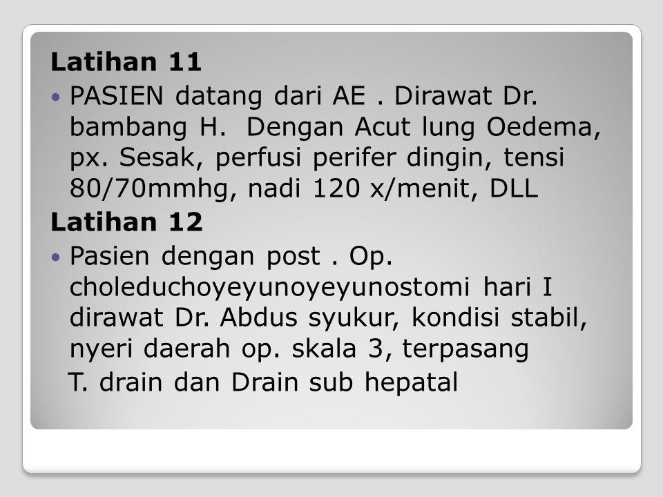 Latihan 11 PASIEN datang dari AE. Dirawat Dr. bambang H. Dengan Acut lung Oedema, px. Sesak, perfusi perifer dingin, tensi 80/70mmhg, nadi 120 x/menit