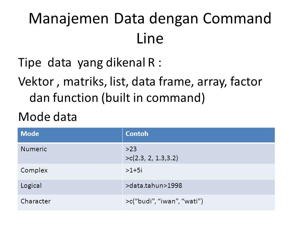 Manajemen Data dengan Command Line Tipe data yang dikenal R : Vektor, matriks, list, data frame, array, factor dan function (built in command) Mode data ModeContoh Numeric>23 >c(2.3, 2, 1.3,3.2) Complex>1+5i Logical>data.tahun>1998 Character>c( budi , iwan , wati )
