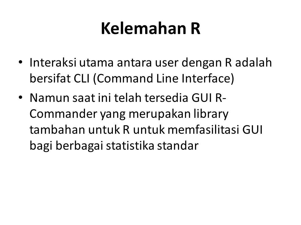 Kelemahan R Interaksi utama antara user dengan R adalah bersifat CLI (Command Line Interface) Namun saat ini telah tersedia GUI R- Commander yang meru