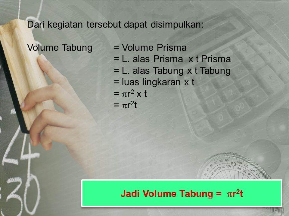 Dari kegiatan tersebut dapat disimpulkan: Volume Tabung= Volume Prisma = L. alas Prisma x t Prisma = L. alas Tabung x t Tabung = luas lingkaran x t =
