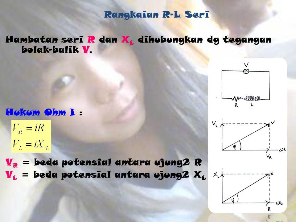 Rangkaian R-L Seri Hambatan seri R dan X L dihubungkan dg tegangan bolak-balik V. Hukum Ohm I : V R = beda potensial antara ujung2 R V L = beda potens