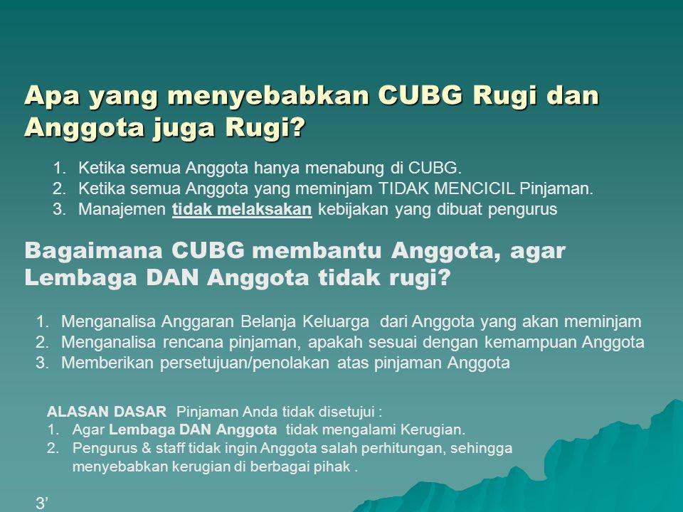 Apa yang menyebabkan CUBG Rugi dan Anggota juga Rugi? 1.Menganalisa Anggaran Belanja Keluarga dari Anggota yang akan meminjam 2.Menganalisa rencana pi