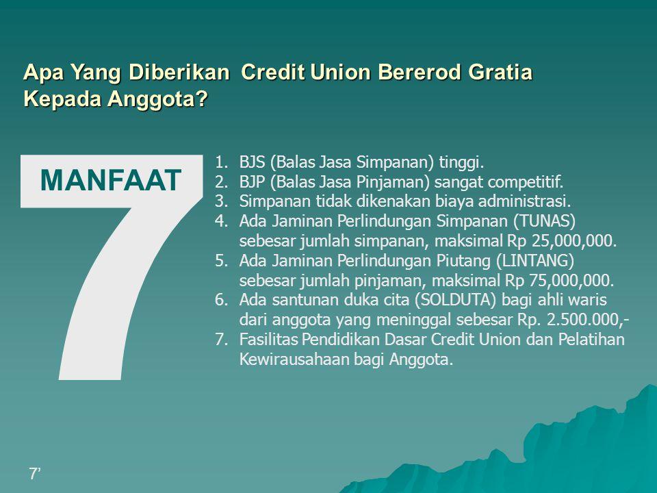 7 Apa Yang Diberikan Credit Union Bererod Gratia Kepada Anggota? 1.BJS (Balas Jasa Simpanan) tinggi. 2.BJP (Balas Jasa Pinjaman) sangat competitif. 3.