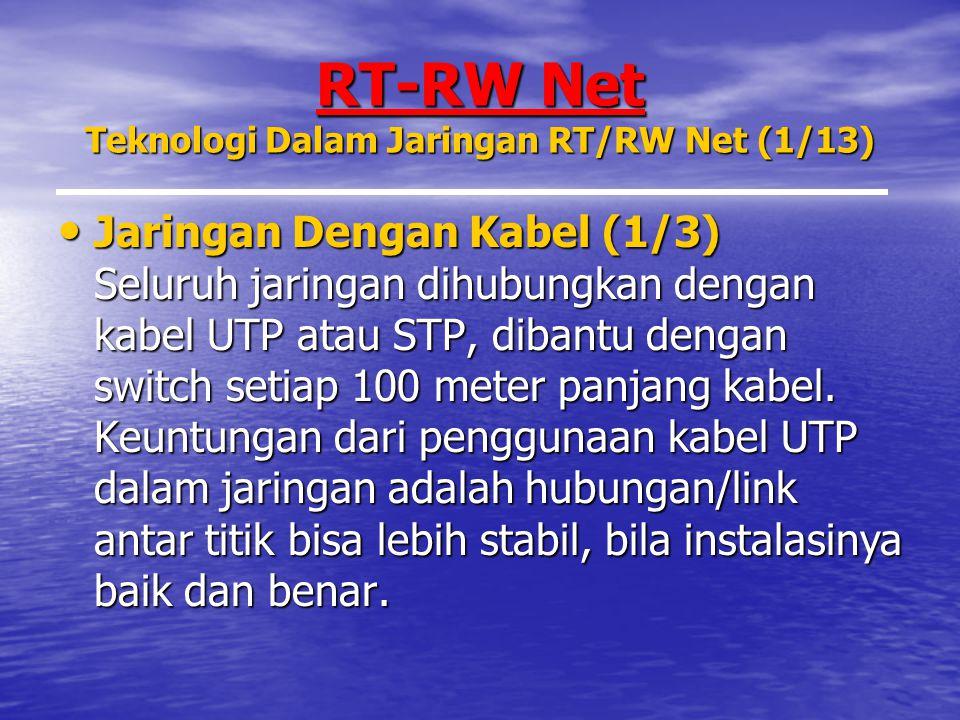 RT-RW Net Teknologi Dalam Jaringan RT/RW Net (1/13) Jaringan Dengan Kabel (1/3) Seluruh jaringan dihubungkan dengan kabel UTP atau STP, dibantu dengan switch setiap 100 meter panjang kabel.