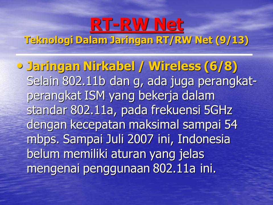 RT-RW Net Teknologi Dalam Jaringan RT/RW Net (9/13) Jaringan Nirkabel / Wireless (6/8) Selain 802.11b dan g, ada juga perangkat- perangkat ISM yang bekerja dalam standar 802.11a, pada frekuensi 5GHz dengan kecepatan maksimal sampai 54 mbps.