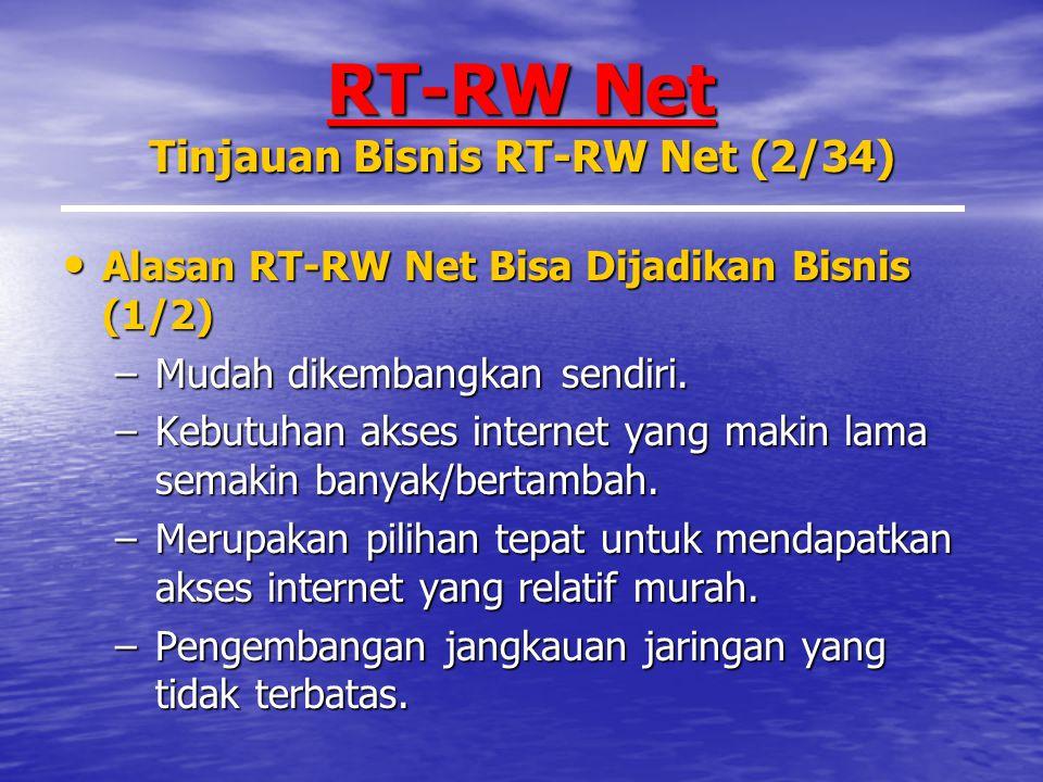 RT-RW Net Tinjauan Bisnis RT-RW Net (2/34) Alasan RT-RW Net Bisa Dijadikan Bisnis (1/2) Alasan RT-RW Net Bisa Dijadikan Bisnis (1/2) –Mudah dikembangkan sendiri.