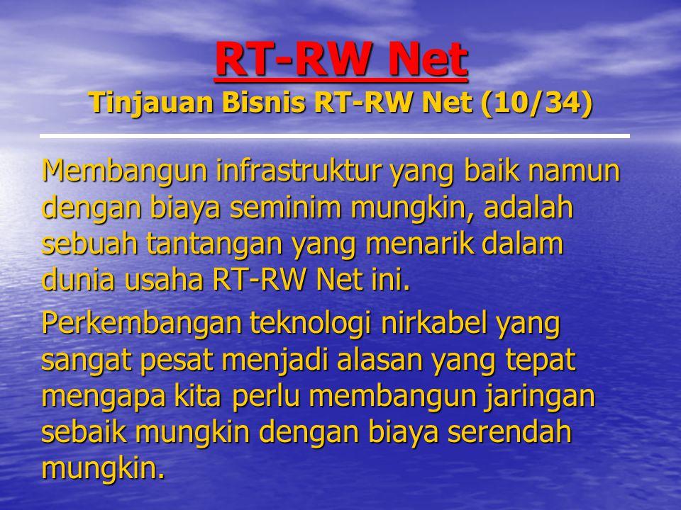 RT-RW Net Tinjauan Bisnis RT-RW Net (10/34) Membangun infrastruktur yang baik namun dengan biaya seminim mungkin, adalah sebuah tantangan yang menarik dalam dunia usaha RT-RW Net ini.