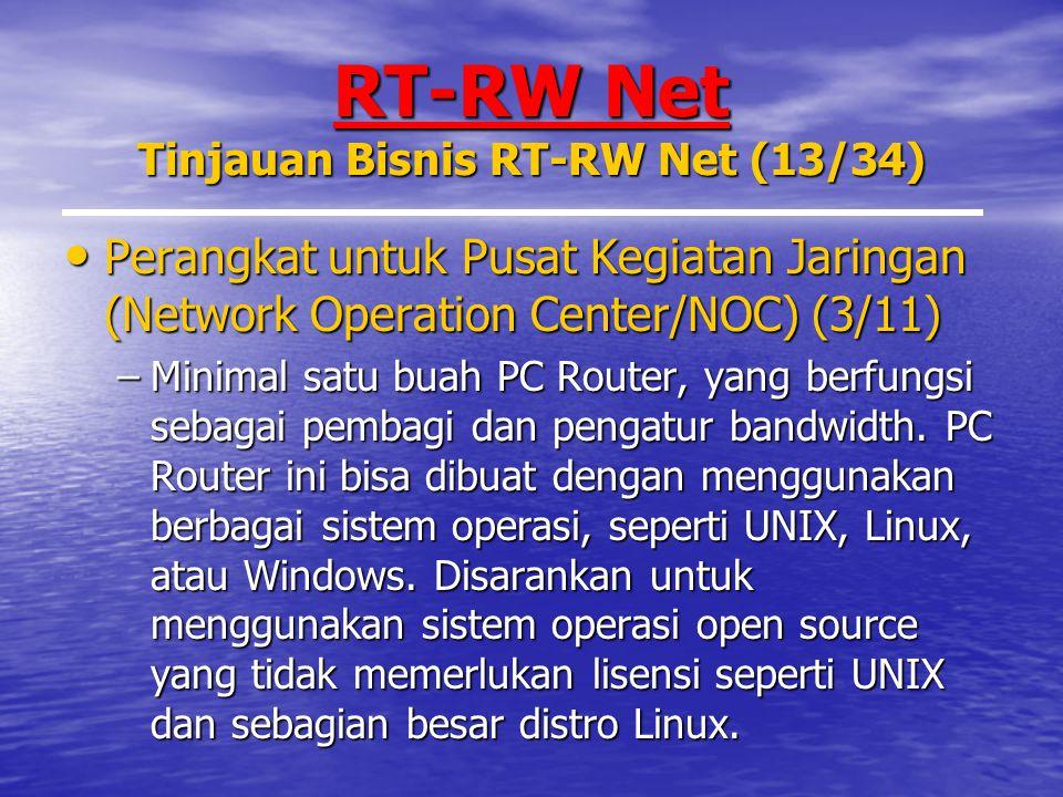 RT-RW Net Tinjauan Bisnis RT-RW Net (13/34) Perangkat untuk Pusat Kegiatan Jaringan (Network Operation Center/NOC) (3/11) Perangkat untuk Pusat Kegiatan Jaringan (Network Operation Center/NOC) (3/11) –Minimal satu buah PC Router, yang berfungsi sebagai pembagi dan pengatur bandwidth.
