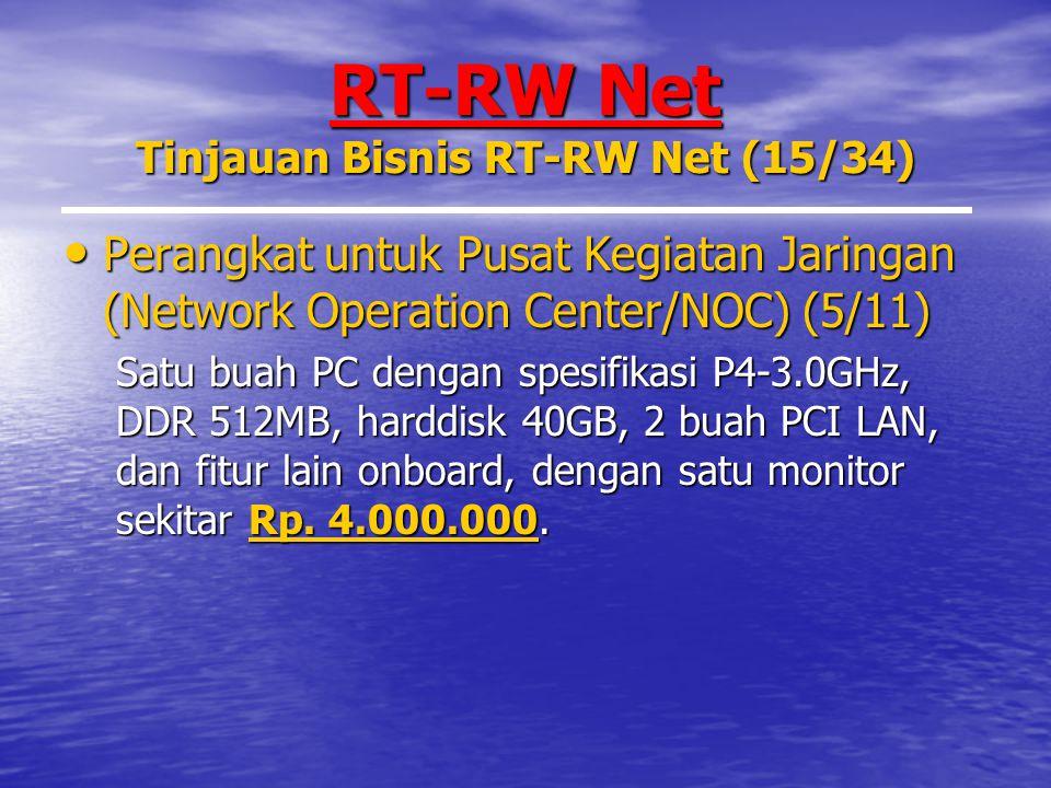 RT-RW Net Tinjauan Bisnis RT-RW Net (15/34) Perangkat untuk Pusat Kegiatan Jaringan (Network Operation Center/NOC) (5/11) Perangkat untuk Pusat Kegiatan Jaringan (Network Operation Center/NOC) (5/11) Satu buah PC dengan spesifikasi P4-3.0GHz, DDR 512MB, harddisk 40GB, 2 buah PCI LAN, dan fitur lain onboard, dengan satu monitor sekitar Rp.