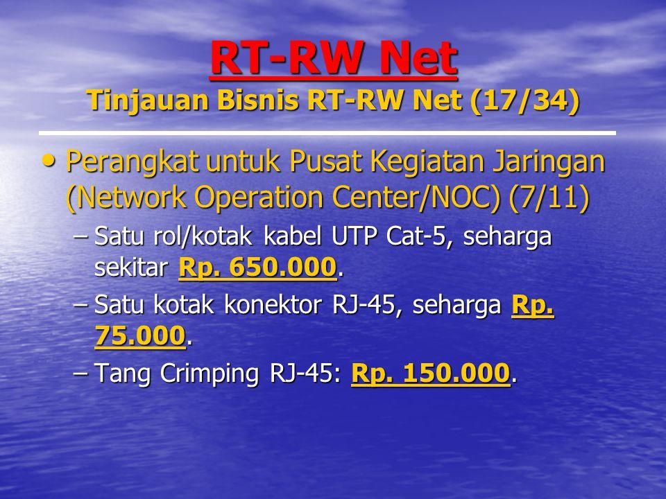 RT-RW Net Tinjauan Bisnis RT-RW Net (17/34) Perangkat untuk Pusat Kegiatan Jaringan (Network Operation Center/NOC) (7/11) Perangkat untuk Pusat Kegiatan Jaringan (Network Operation Center/NOC) (7/11) –Satu rol/kotak kabel UTP Cat-5, seharga sekitar Rp.