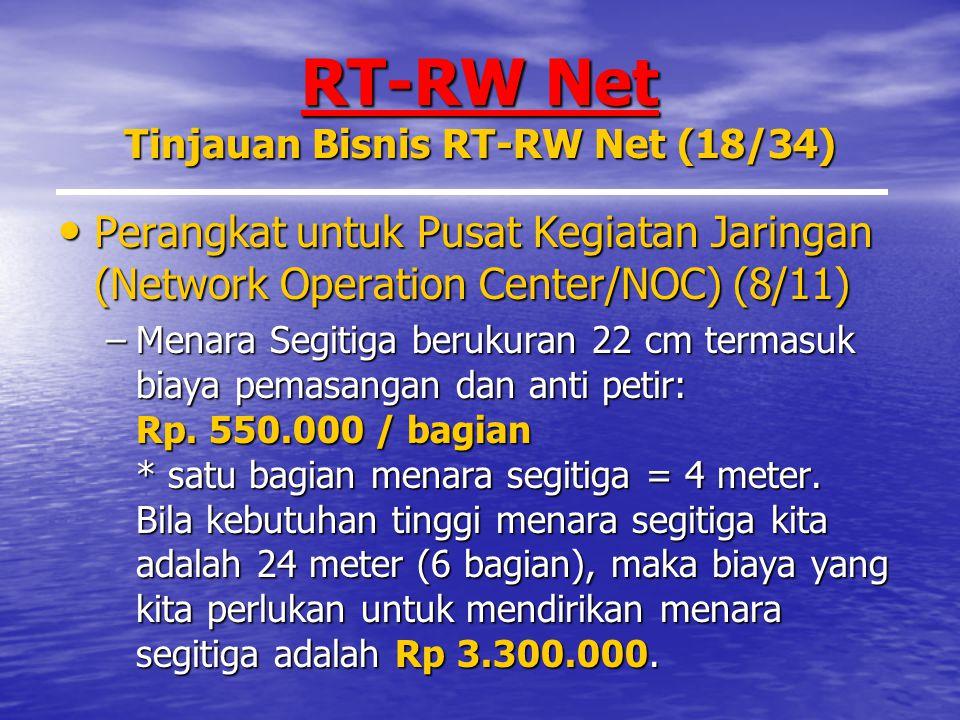 RT-RW Net Tinjauan Bisnis RT-RW Net (18/34) Perangkat untuk Pusat Kegiatan Jaringan (Network Operation Center/NOC) (8/11) Perangkat untuk Pusat Kegiatan Jaringan (Network Operation Center/NOC) (8/11) –Menara Segitiga berukuran 22 cm termasuk biaya pemasangan dan anti petir: Rp.