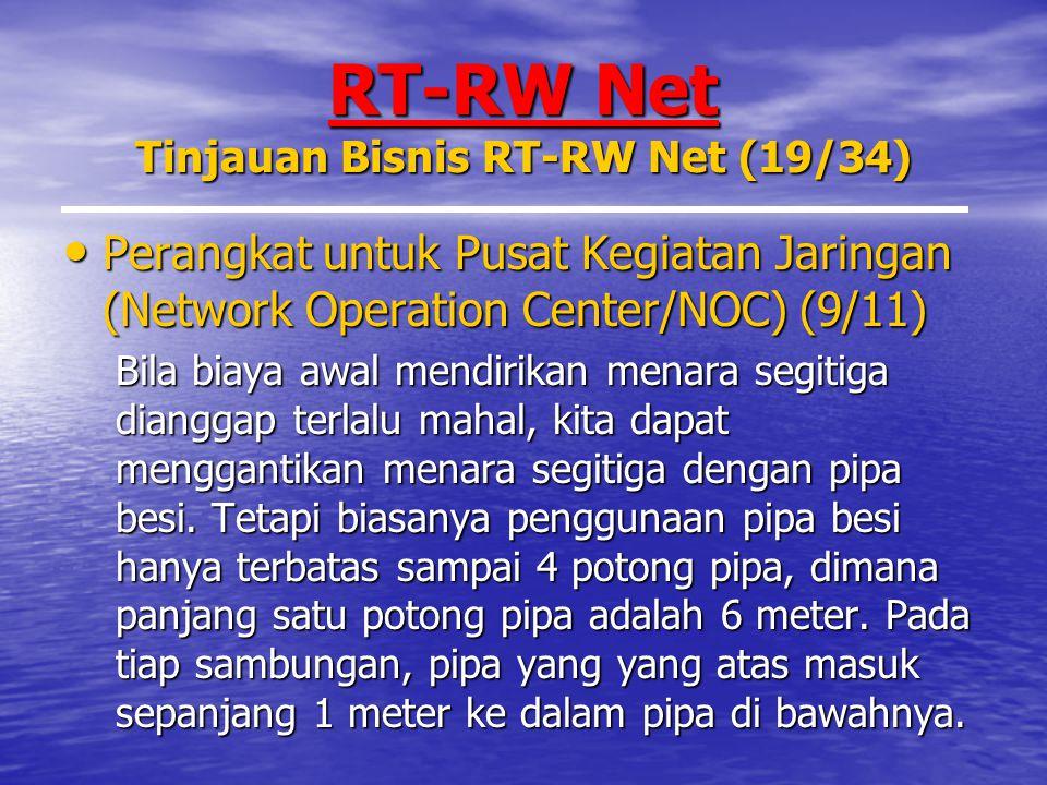RT-RW Net Tinjauan Bisnis RT-RW Net (19/34) Perangkat untuk Pusat Kegiatan Jaringan (Network Operation Center/NOC) (9/11) Perangkat untuk Pusat Kegiatan Jaringan (Network Operation Center/NOC) (9/11) Bila biaya awal mendirikan menara segitiga dianggap terlalu mahal, kita dapat menggantikan menara segitiga dengan pipa besi.
