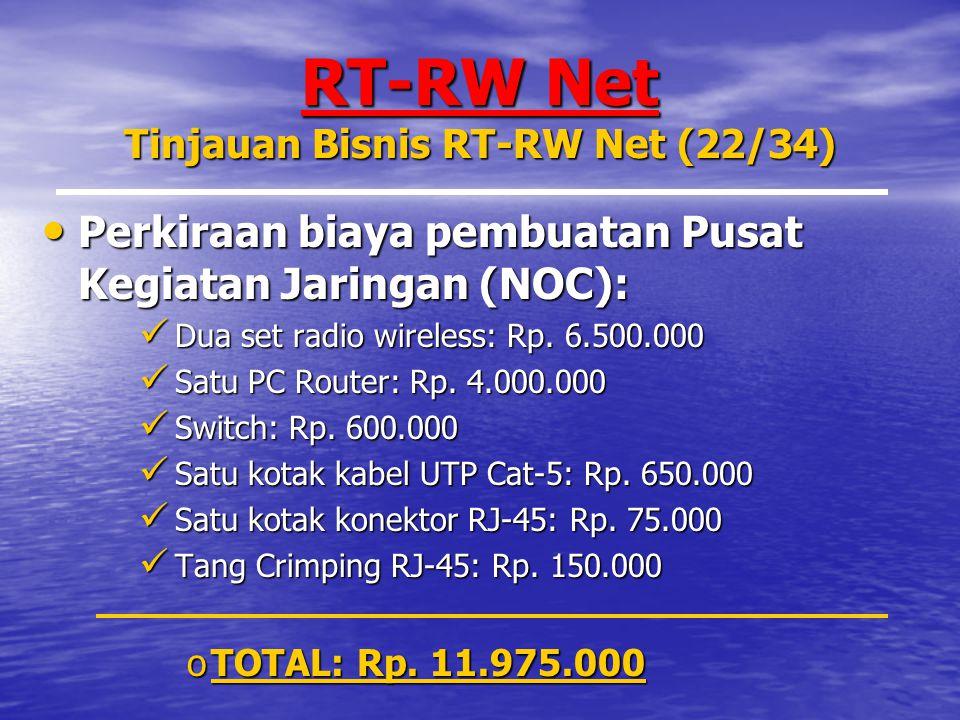 RT-RW Net Tinjauan Bisnis RT-RW Net (22/34) Perkiraan biaya pembuatan Pusat Kegiatan Jaringan (NOC): Perkiraan biaya pembuatan Pusat Kegiatan Jaringan (NOC): Dua set radio wireless: Rp.