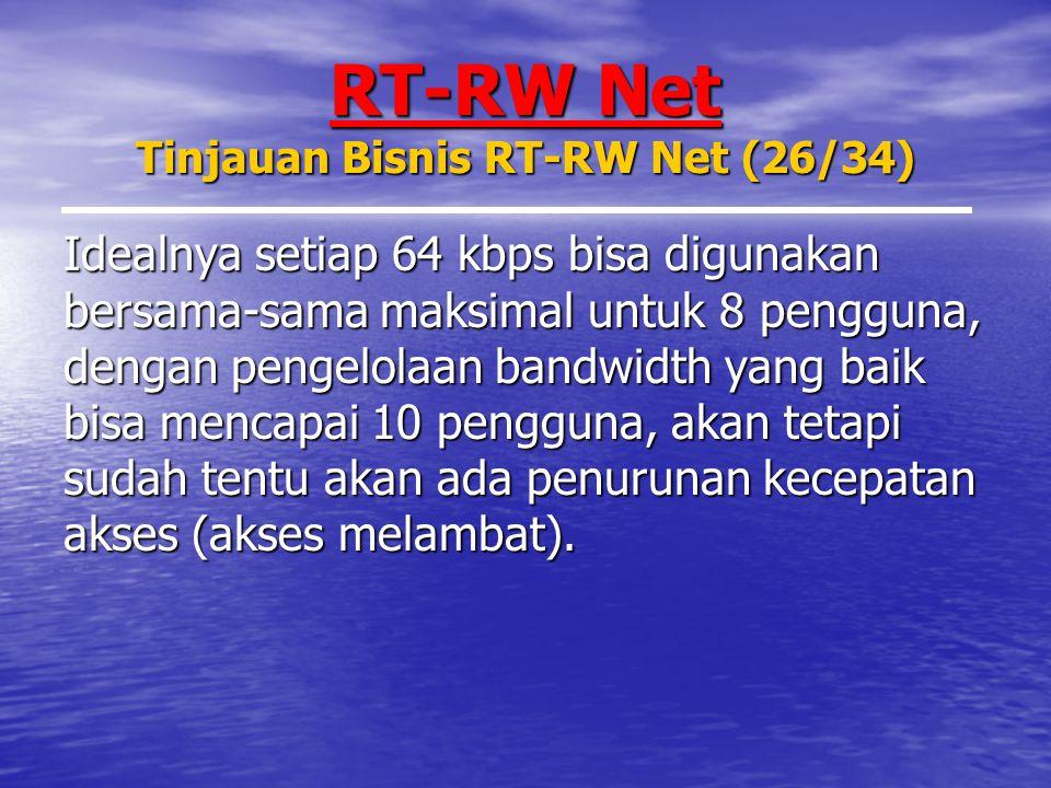 RT-RW Net Tinjauan Bisnis RT-RW Net (26/34) Idealnya setiap 64 kbps bisa digunakan bersama-sama maksimal untuk 8 pengguna, dengan pengelolaan bandwidth yang baik bisa mencapai 10 pengguna, akan tetapi sudah tentu akan ada penurunan kecepatan akses (akses melambat).