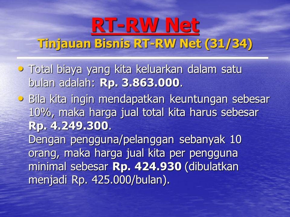 RT-RW Net Tinjauan Bisnis RT-RW Net (31/34) Total biaya yang kita keluarkan dalam satu bulan adalah: Rp.