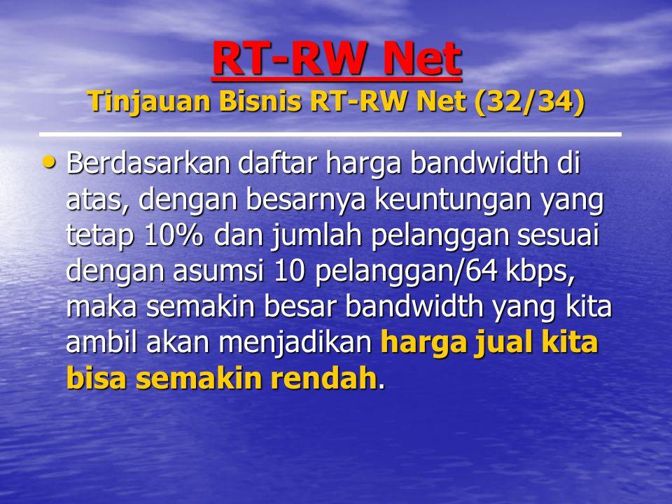 RT-RW Net Tinjauan Bisnis RT-RW Net (32/34) Berdasarkan daftar harga bandwidth di atas, dengan besarnya keuntungan yang tetap 10% dan jumlah pelanggan sesuai dengan asumsi 10 pelanggan/64 kbps, maka semakin besar bandwidth yang kita ambil akan menjadikan harga jual kita bisa semakin rendah.