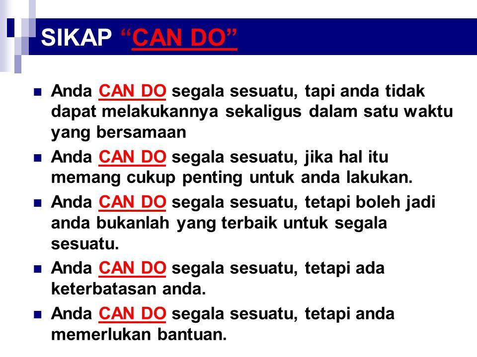 "SIKAP ""CAN DO"" Anda CAN DO segala sesuatu, tapi anda tidak dapat melakukannya sekaligus dalam satu waktu yang bersamaan Anda CAN DO segala sesuatu, ji"