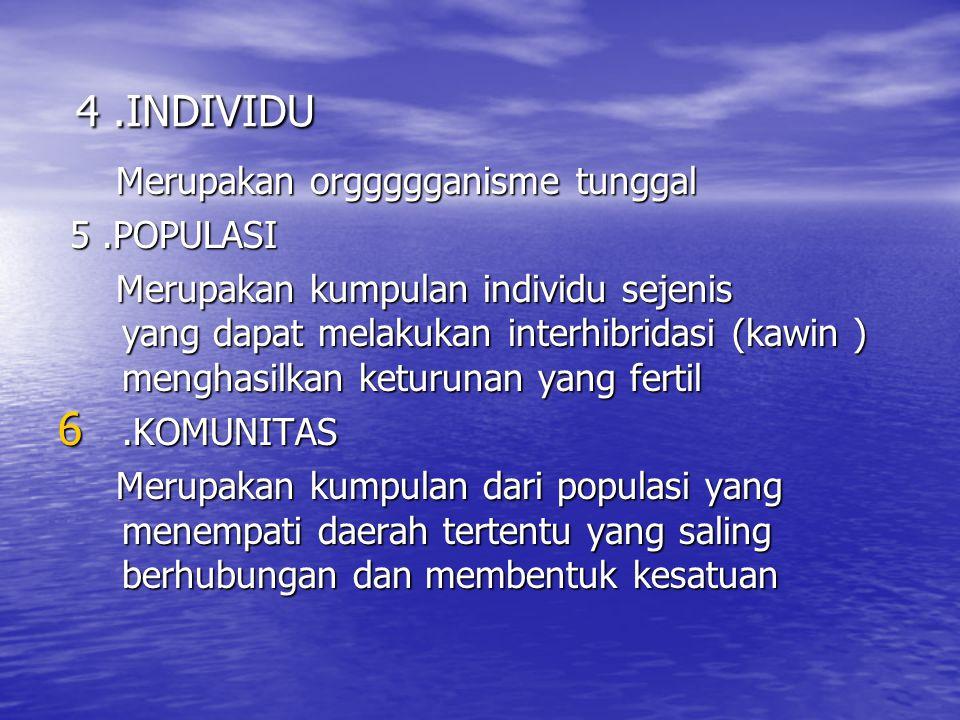 4.INDIVIDU 4.INDIVIDU Merupakan orggggganisme tunggal Merupakan orggggganisme tunggal 5.POPULASI 5.POPULASI Merupakan kumpulan individu sejenis yang d