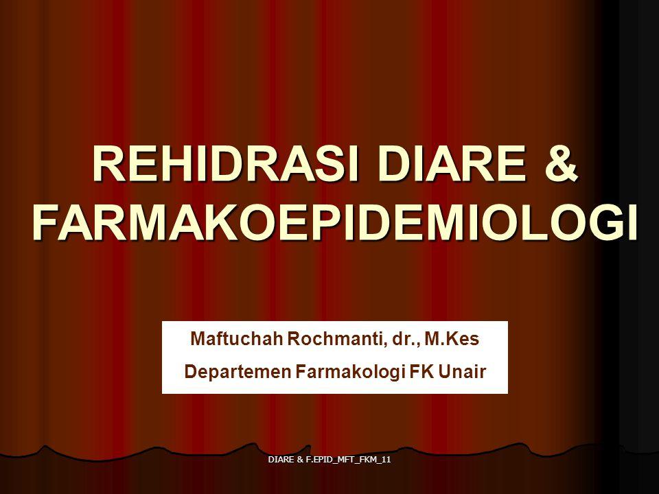 DIARE & F.EPID_MFT_FKM_11 PENGGUNAAN LOPERAMID pada anak-anak Fungsi : - Anti diare golongan opioid yang berfungsi sebagai anti motilitas usus Efek samping pada anak-anak : - Spasme usus besar - Konstipasi