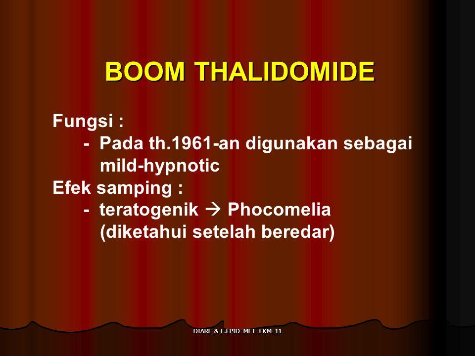 DIARE & F.EPID_MFT_FKM_11 BOOM THALIDOMIDE Fungsi : - Pada th.1961-an digunakan sebagai mild-hypnotic Efek samping : - teratogenik  Phocomelia (diket