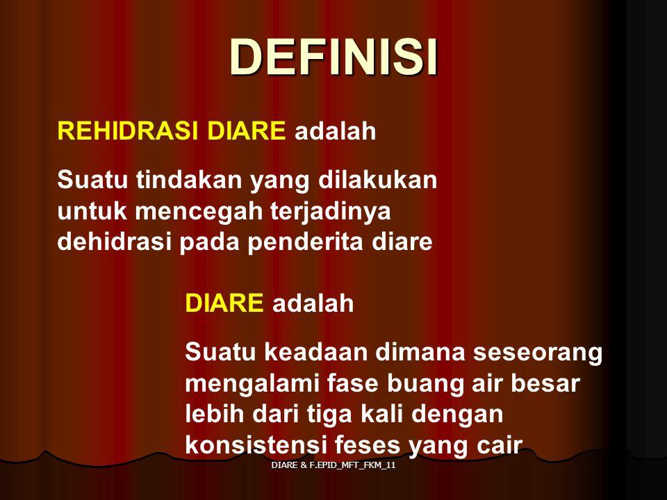 DIARE & F.EPID_MFT_FKM_11 DEFINISI REHIDRASI DIARE adalah Suatu tindakan yang dilakukan untuk mencegah terjadinya dehidrasi pada penderita diare DIARE