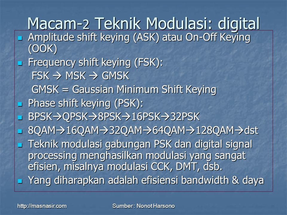 http://masnasir.comSumber : Nonot Harsono Modulasi FSK (frequency shift keying)