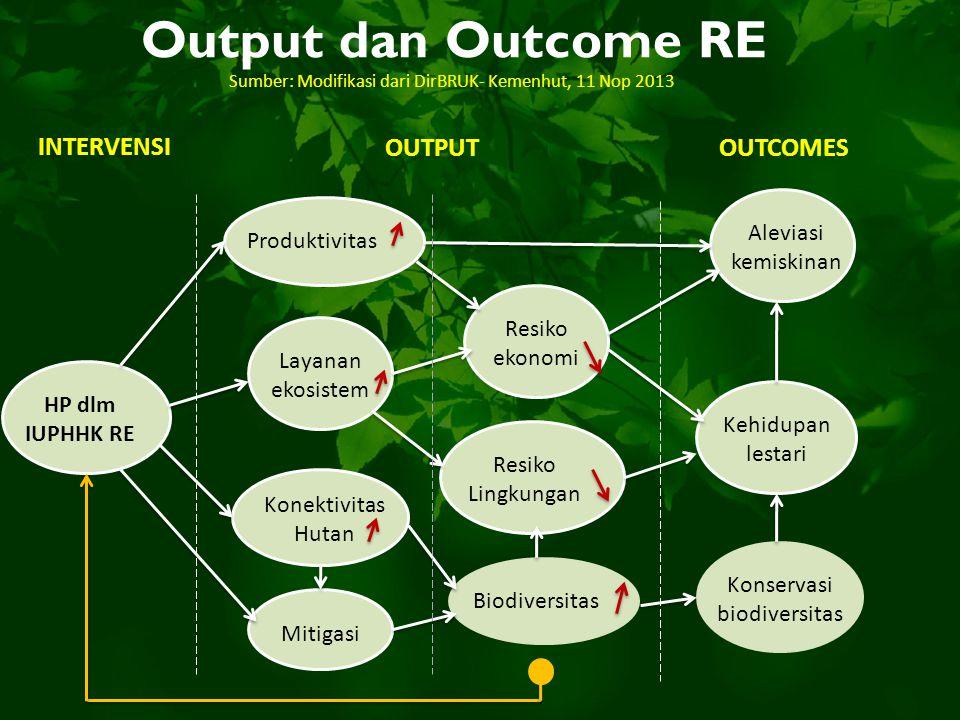 Output dan Outcome RE INTERVENSI OUTPUTOUTCOMES HP dlm IUPHHK RE Produktivitas Layanan ekosistem Konektivitas Hutan Mitigasi Resiko ekonomi Resiko Lin